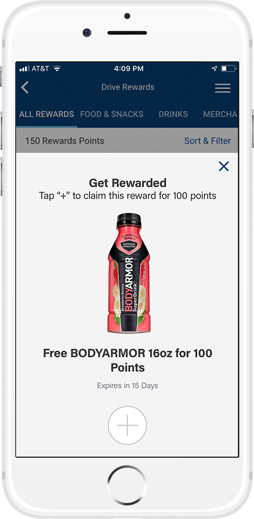 "4951dd4df Just tap ""+""to claim drive rewards and use your points. Your points will  update automatically."